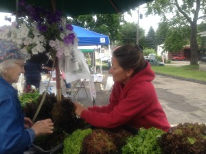 Cindy Barber helping a customer at Bellevue Farmer's Market.